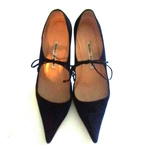 MANOLO BLAHNIK Black Suede Leather Mary Janes 37.5